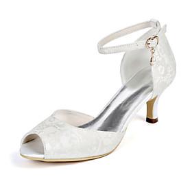 Women's Wedding Shoes Plus Size Stiletto Heel Peep Toe Minimalism Wedding Party  Evening Imitation Pearl Floral Lace White / Light Purple / Ivory