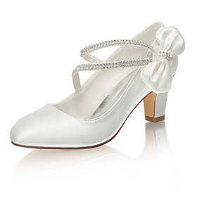Women's Wedding Shoes Block Heel Round Toe Classic Sweet Wedding Party  Evening Rhinestone Bowknot Solid Colored Satin Walking Shoes Summer Ivory