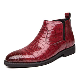 Men's Boots Fashion Boots Work Boots British Daily Nappa Leather Non-slipping Wear Proof Black / Red Fall  Winter