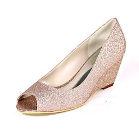 Women's Wedding Shoes Plus Size Wedge Heel Peep Toe Minimalism Wedding Party  Evening Synthetics White / Light Purple / Champagne
