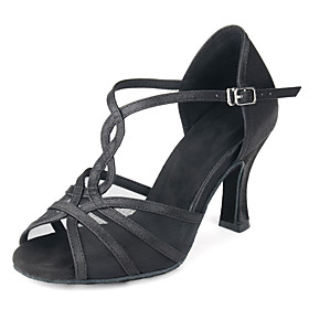 Women's Latin Shoes Heel Flared Heel Satin Buckle Almond / Black