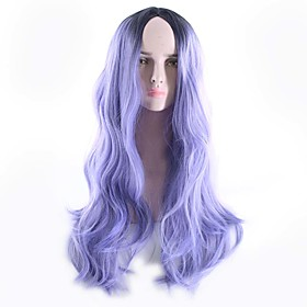 Synthetic Wig Body Wave Bob Free Part Wig Ombre Long Black / Purple Synthetic Hair 26inch Women's Odor Free Cosplay Adjustable Ombre / Heat Resistant / Natural