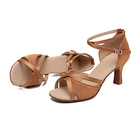 Women's Latin Shoes Heel Cuban Heel Satin Brown / Performance / Leather / Practice