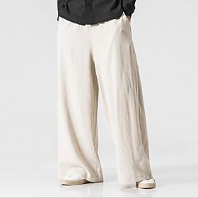 Men's Basic Wide Leg Pants Solid Colored Black Wine Navy Blue US32 / UK32 / EU40 US34 / UK34 / EU42 US36 / UK36 / EU44