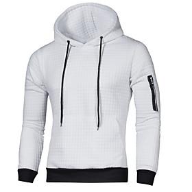 Men's Hoodie Color Block Hooded Basic Hoodies Sweatshirts  Slim White Black Light gray