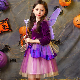 Kids Girls' Color Block Halloween Mesh 3/4 Length Sleeve Knee-length Dress Purple
