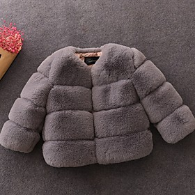 Kids Girls' Basic Solid Colored Faux Fur Jacket  Coat Wine
