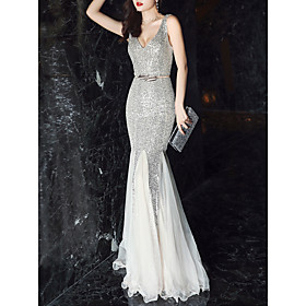 Mermaid / Trumpet Elegant  Luxurious Sexy Formal Evening Dress Plunging Neck Sleeveless Sweep / Brush Train Tulle Sequined with Sash / Ribbon Sequin 2020