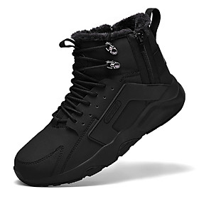 Men's Boots Fashion Boots Work Boots Sporty Daily Leather Warm Non-slipping Wear Proof Black and White / Black / Brown Winter
