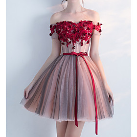 A-Line Floral Red Homecoming Cocktail Party Dress Off Shoulder Short Sleeve Short / Mini Tulle with Bow(s) Appliques 2020