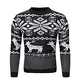 Men's Christmas Knitted Geometric Pullover Long Sleeve Sweater Cardigans Crew Neck Fall Winter Black