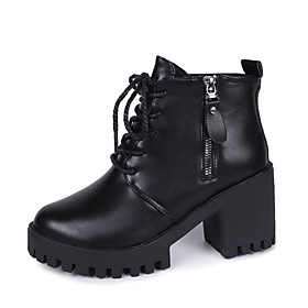 Women's Boots Chunky Heel Round Toe PU Booties / Ankle Boots Fall  Winter Black