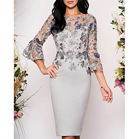 Women's Bodycon Dress - 3/4 Length Sleeve Floral Solid Color Lace Elegant Cocktail Party Going out Slim Gray M L XL XXL XXXL