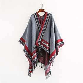 Women's Tassel Rectangle Scarf - Graphic Washable
