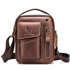 Men's Bags Cowhide Crossbody Bag Zipper for Daily / Office  Career Dark Brown / Black / Coffee