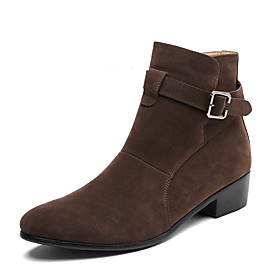 Men's Boots Suede Shoes Fashion Boots Work Boots Casual Daily Office  Career Suede Breathable Non-slipping Wear Proof Black / Brown Spring  Summer / Fall  Wint
