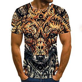 Men's Weekend Plus Size T-shirt Geometric 3D Animal Pleated Print Short Sleeve Tops Streetwear Round Neck Gold / Summer