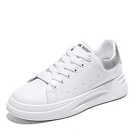 Women's Sneakers Creepers Round Toe Leather Casual Walking Shoes Spring   Fall White / Silver / Rainbow