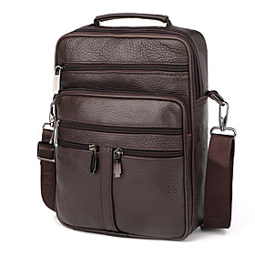 Men's Bags Cowhide Briefcase Zipper Solid Color for Shopping / Daily Black / Coffee / Fall  Winter