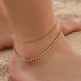 Ankle Bracelet Boho Vintage Korean Women's Body Jewelry For Daily Layered Copper Rhinestone Gold Silver 1pc