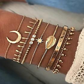 7pcs Women's Bracelet Bangles Cuff Bracelet Bead Bracelet Layered Lucky Shell Vintage Trendy Ethnic Fashion Boho Alloy Bracelet Jewelry Gold For Daily / Earrin