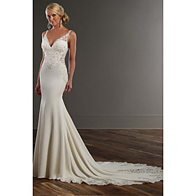 Mermaid / Trumpet Wedding Dresses V Neck Chapel Train Lace Stretch Satin Spaghetti Strap See-Through Beautiful Back with Appliques 2020