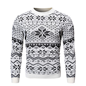 Men's Christmas Knitted Geometric Pullover Long Sleeve Sweater Cardigans Crew Neck White Black
