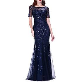 Women's Asymmetrical Trumpet / Mermaid Dress - Short Sleeve Solid Colored Wine Khaki Silver Navy Blue Light Blue M L XL XXL XXXL XXXXL