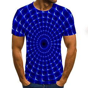 Men's Plus Size Polka Dot Geometric Pleated Print T-shirt Street chic Weekend Round Neck Blue / Summer / Short Sleeve