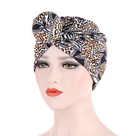 Women's Turban Work Basic Cute Cotton Floppy Hat-Leopard All Seasons Black Purple Yellow