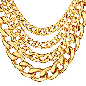 Men's Chain Necklace Cuban Link Mariner Chain Rock Fashion Hip-Hop Cool Stainless Steel Gold Plated White Black Gold Necklace Jewelry For Special Occasion Birt