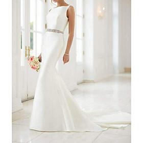 Mermaid / Trumpet Wedding Dresses Jewel Neck Sweep / Brush Train Satin Regular Straps Simple Elegant with Sashes / Ribbons Buttons 2020