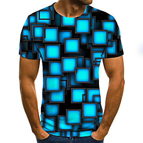 Men's Plus Size Geometric 3D Pleated Print T-shirt Street chic Weekend Round Neck Royal Blue / Summer / Short Sleeve