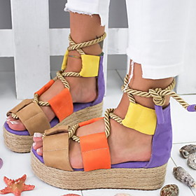 Women's Sandals Flat Sandal Summer Flat Heel Round Toe Casual Daily Solid Colored PU Purple / Yellow / Blue