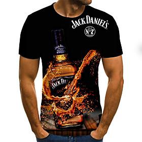 Men's Weekend Plus Size T-shirt Graphic Beer Print Short Sleeve Tops Streetwear Round Neck Black Yellow Orange / Summer