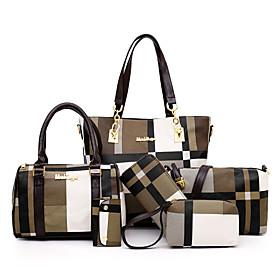 Women's Pattern / Print / Chain PU Bag Set 2020 Lattice 6 Pieces Purse Set Blue / Red / Green