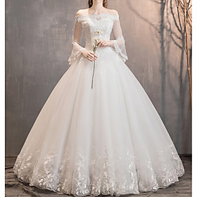 A-Line Wedding Dresses Off Shoulder Floor Length Lace Tulle 3/4 Length Sleeve Glamorous Illusion Sleeve with Appliques 2020