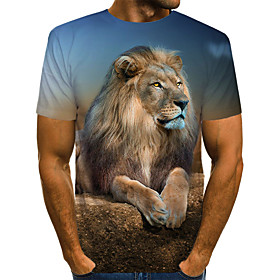 Men's 3D Graphic Lion Print T-shirt Vintage Rock Daily Holiday Round Neck Brown / Summer / Short Sleeve / Animal