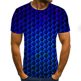 Men's Weekend Plus Size T-shirt Polka Dot Geometric 3D Pleated Print Short Sleeve Tops Streetwear Round Neck Blue / Summer