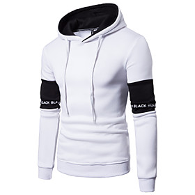 Men's Hoodie Solid Colored Hooded Basic Hoodies Sweatshirts  Slim White Black