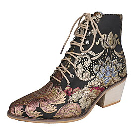 Women's Boots Animal Print Fall  Winter Chunky Heel Round Toe Daily Canvas Mid-Calf Boots Rainbow