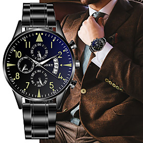 Men's Dress Watch Quartz Formal Style Stylish Fashion Calendar / date / day Analog Black Silver / Black / One Year / Stainless Steel / Stainless Steel / Noctil