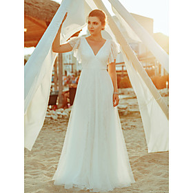 A-Line Wedding Dresses V Neck Floor Length Lace Short Sleeve Simple Casual Boho Illusion Detail Backless with Lace 2020