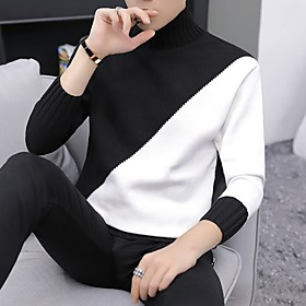 Men's Color Block Pullover Long Sleeve Slim Sweater Cardigans Crew Neck Black Brown Navy Blue