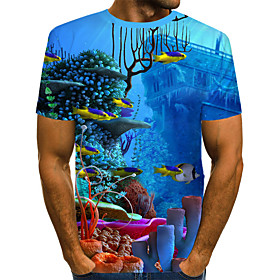 Men's 3D Graphic Print T-shirt Street chic Exaggerated Going out Round Neck Rainbow / Short Sleeve