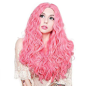 Synthetic Lace Front Wig Wavy Middle Part Lace Front Wig Pink Long Pink Synthetic Hair 18-26 inch Women's Adjustable Heat Resistant Party Pink