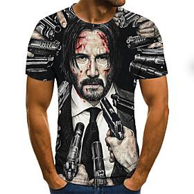 Men's Weekend Plus Size T-shirt 3D Graphic Portrait Pleated Print Short Sleeve Tops Streetwear Round Neck Black