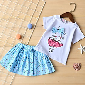 Kids Girls' Basic Cartoon Short Sleeve Clothing Set Blushing Pink Fabric:Cotton; Sleeve Length:Short Sleeve; Gender:Girls'; Style:Basic; Kids Apparel:Clothing Set; Age Group:Kids; Pattern:Cartoon; Front page:FF; Listing Date:09/12/2019; Bust:; Length [Bottom]:; Length [Top]: