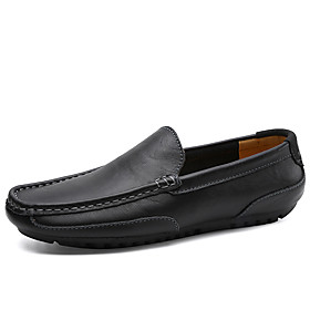 Men's Loafers  Slip-Ons Comfort Shoes Sporty / Casual Daily Outdoor Running Shoes / Walking Shoes Leather Wear Proof Black / Yellow / Blue Spring / Summer / Fa