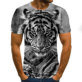 Men's Weekend Plus Size T-shirt 3D Graphic Animal Pleated Print Short Sleeve Tops Streetwear Round Neck Light gray / Summer